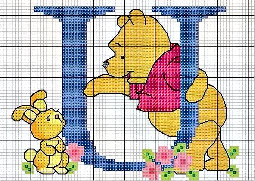 ENCANTOS EM PONTO CRUZ: Monograma Ursinho Pooh