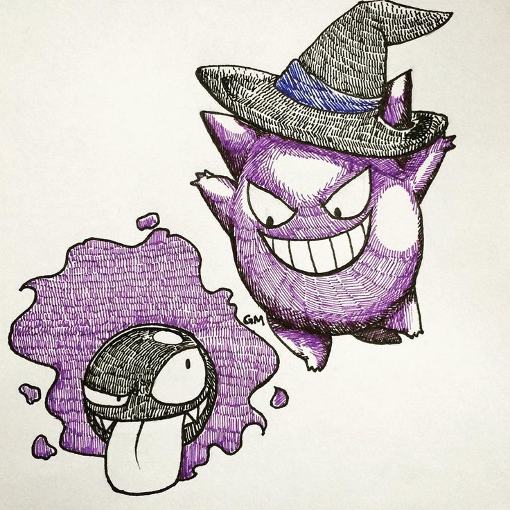 Here's Day 6 for me in #inktober  Just really wanted to put gengar in a witch hat xDhes sooo cute now  But I've fallen behind (ρ)       #gengar #witch #hat #gastly #pokemon #cute #purple #sketcheveryday #halloweencostume #art #pen #awsome