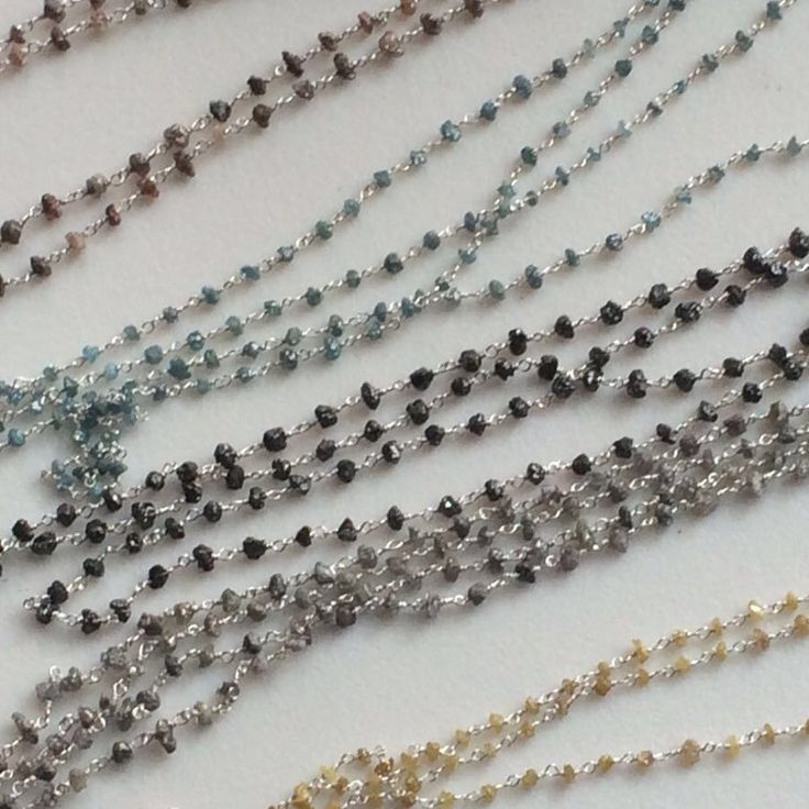 Diamond Rosary / Connector Chains - Raw Rough Diamond in all colors Blue, Yellow, Grey, Pink, White, Black & Brown. Ready to wear - Chain them wear them around your necks or as bracelets. Shop now - flat 50% off storewide. Only on Gemsforjewels!