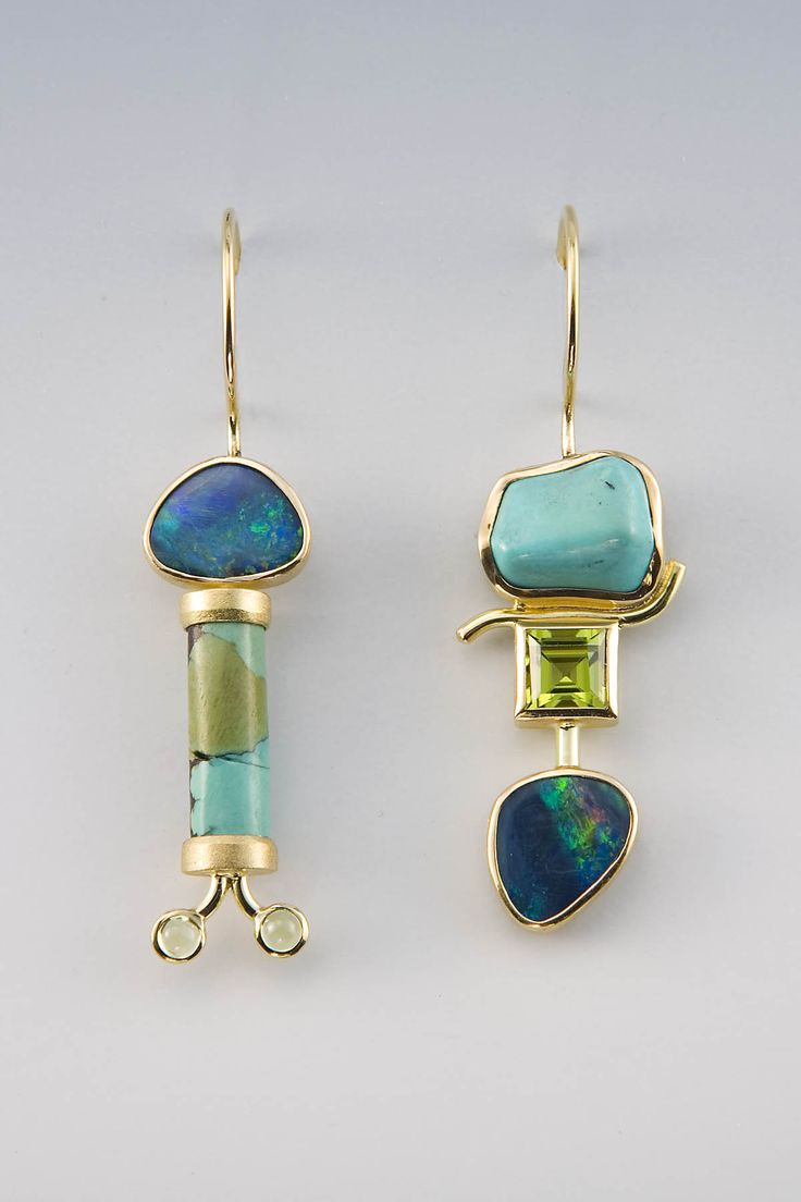 Earrings | Janis Kerman. 18kt yellow gold, boulder opal, turquoise, peridot