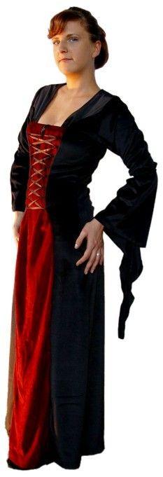 """Abito in velluto di cotone elasticizzato con maniche a """"pipistrello"""", creato artigianalmente, adatto sia per serate eleganti che per rievocazioni celtico-medievali. Disponibile anche in rosso, blu, verde, nero sopra e verde sotto, nero sopra e rosso sotto, nero sopra e blu sotto, rosso sopra e nero sotto."""