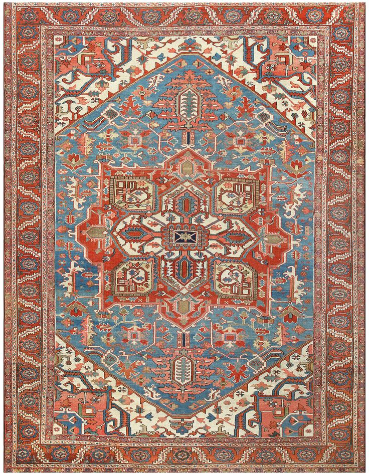 Antique Heriz Persian Room Sized Rug 48098 Room Size