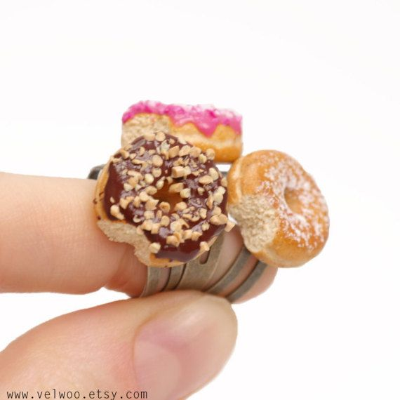 Sweet christmas gift. Donut ringsMiniature food jewelry, Kawaii Donut Rings, donut jewelry, food ring, polymer clay rings, pink donut,   #donut #dount  #donutrings #miniaturefood #miniature #miniaturejewelry  #sweet #fashion #christmasgifts