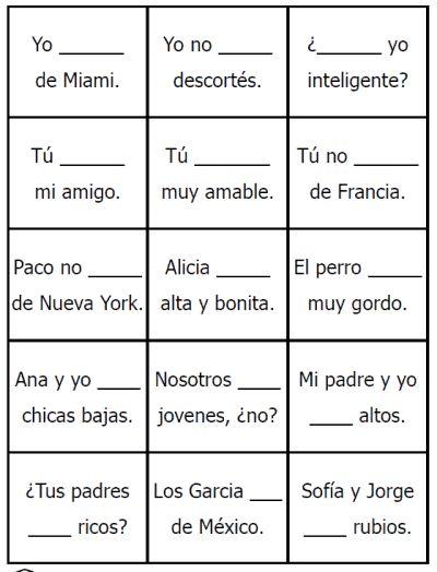 free spanish missing verb cards printable ser and estar. Black Bedroom Furniture Sets. Home Design Ideas