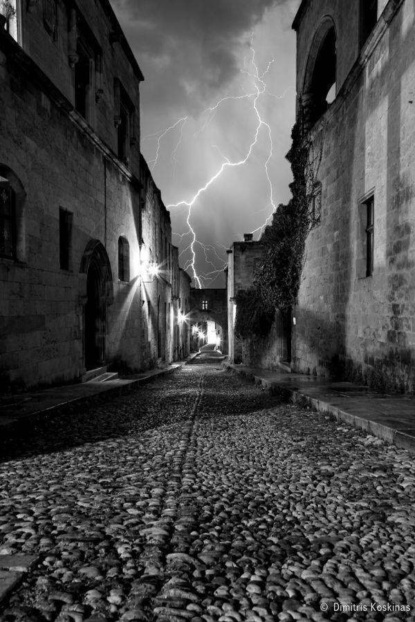 Rhodes castle lightning, Greece