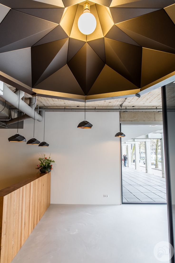 Klink XL Lampshade  with in the back a bunch of solid lampshades. Lighting plan Thornico building Rotterdam by Romy Kühne Design http://www.romykuhne.nl/  Photo by VOWTOW