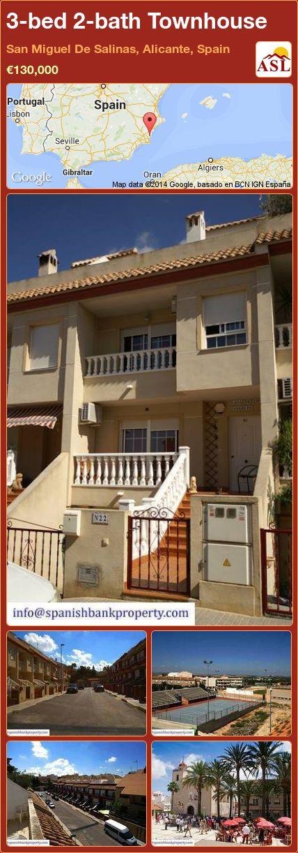 3-bed 2-bath Townhouse in San Miguel De Salinas, Alicante, Spain ►€130,000 #PropertyForSaleInSpain