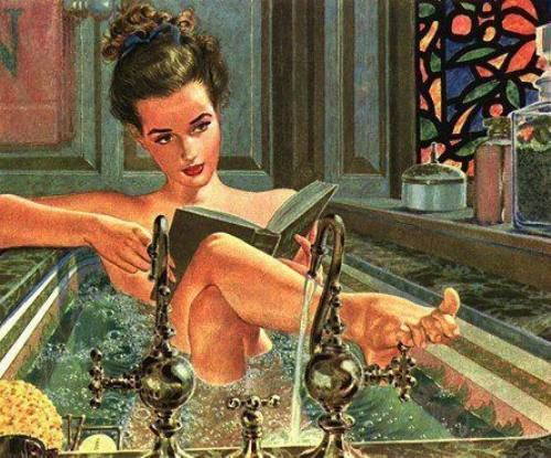Sophisticated & sexy - bookie in the bathtub // vintage pin up illustration