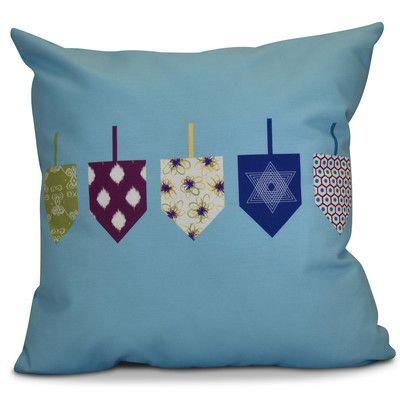 "The Holiday Aisle Hanukkah 2016 Decorative Holiday Geometric Throw Pillow Color: Light Blue, Size: 18"" H x 18"" W x 2"" D"