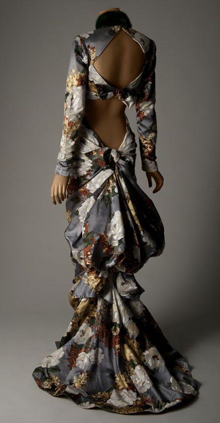 Jean Patou (France). Evening dress, haute couture, fall/winter 1986–87. Flocked silk satin, mink. Appeared in Ebony Fashion Fair Fashion Scandal