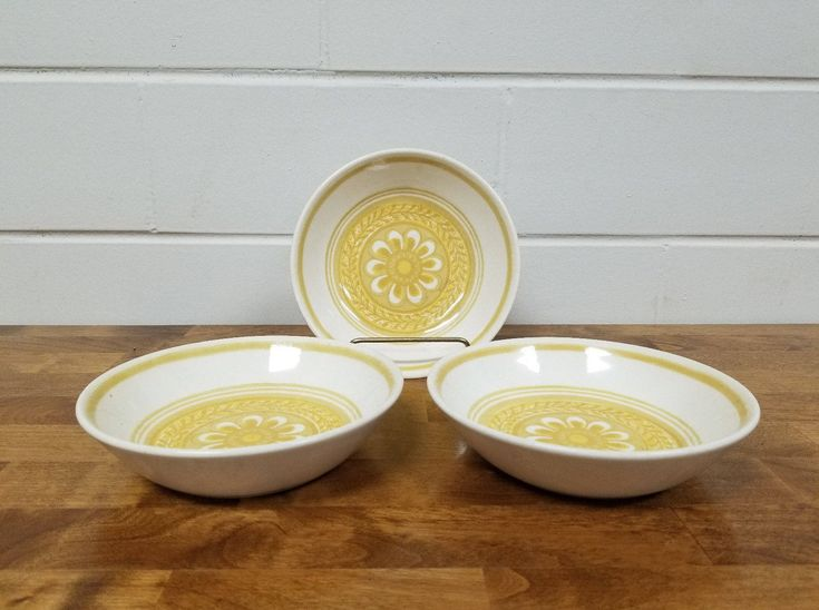 Vintage Dinnerware China Casablanca Cavalier 3 Soup Bowls Retro Yellow Ironstone by TakeFiveVintage on Etsy