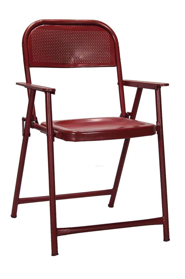 Imagen de las sillas plegables metálicas rojas.