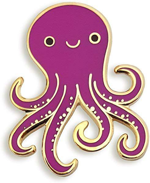 Amazon com: Pinsanity Cute Purple Octopus Enamel Lapel Pin