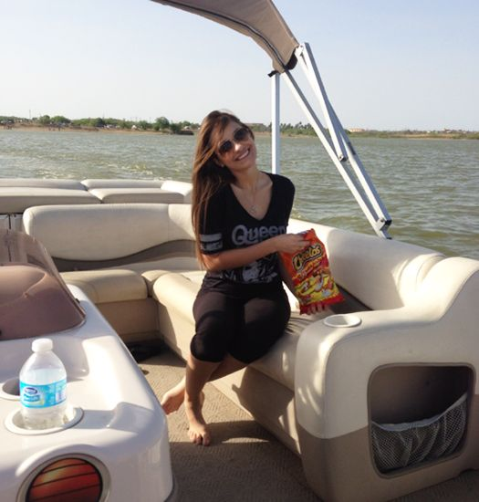 It's no wonder Miss Texas Teen USA Daniella Rodriguez is caught with some flaming hot cheetos while boating since she loves #spicyfood-her favorite being hot wings! Repin/Like if you enjoy a little heat while you eat too!