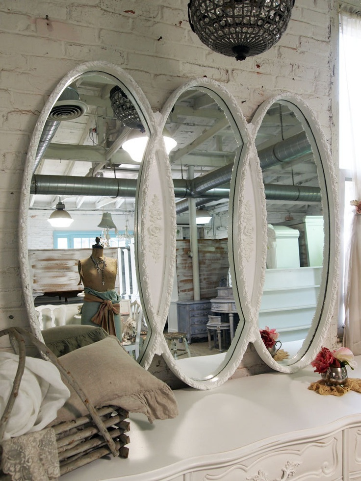 Painted Cottage Chic Shabby Romantic Infinity MIrror MR276. $395.00, via Etsy.