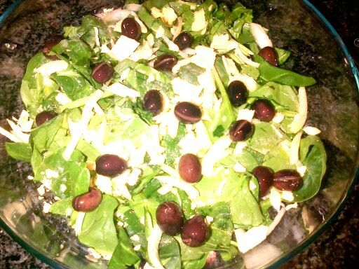 Sol's spinach and olive salad