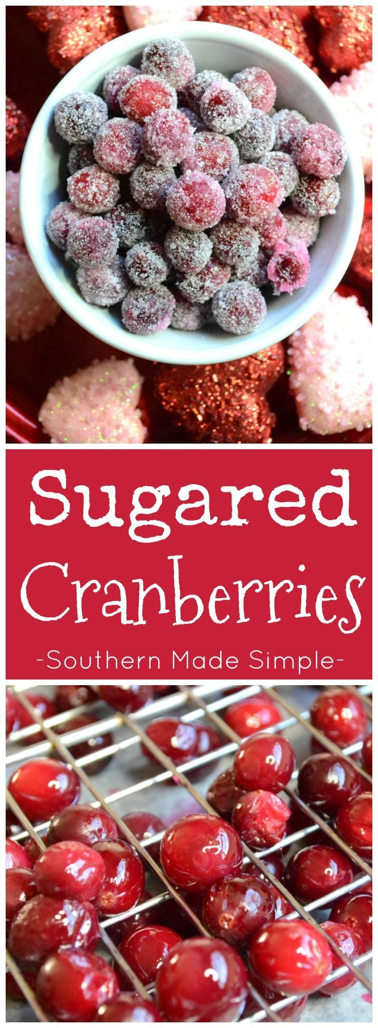 Sugared cranberries are a sweet treat to make during the holidays, and they're a great way to use up leftover cranberries!