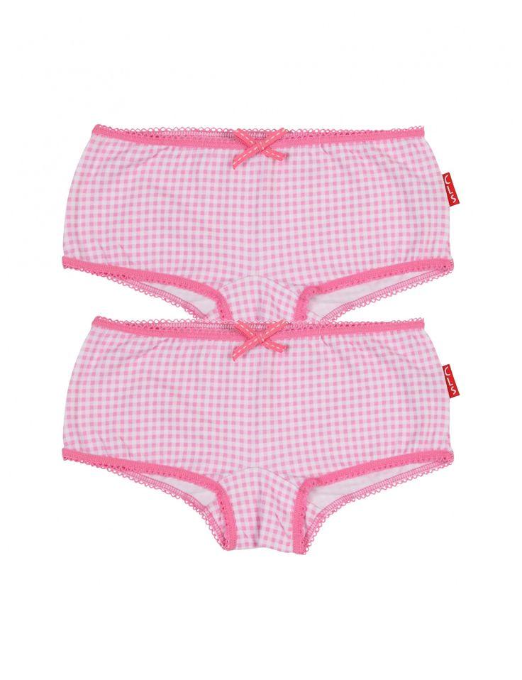 Claesen's - : 2 Packngirls Pink Checks Hipster Brief