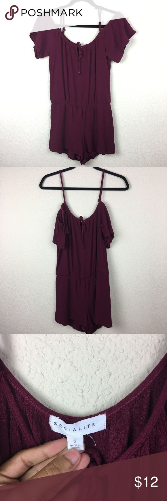 SOCIALITE Burgundy Off The Shoulder Romper This romper is surer cute! In good condition. Perfect for any season and can definition be dressed up or down! socialite Dresses Mini