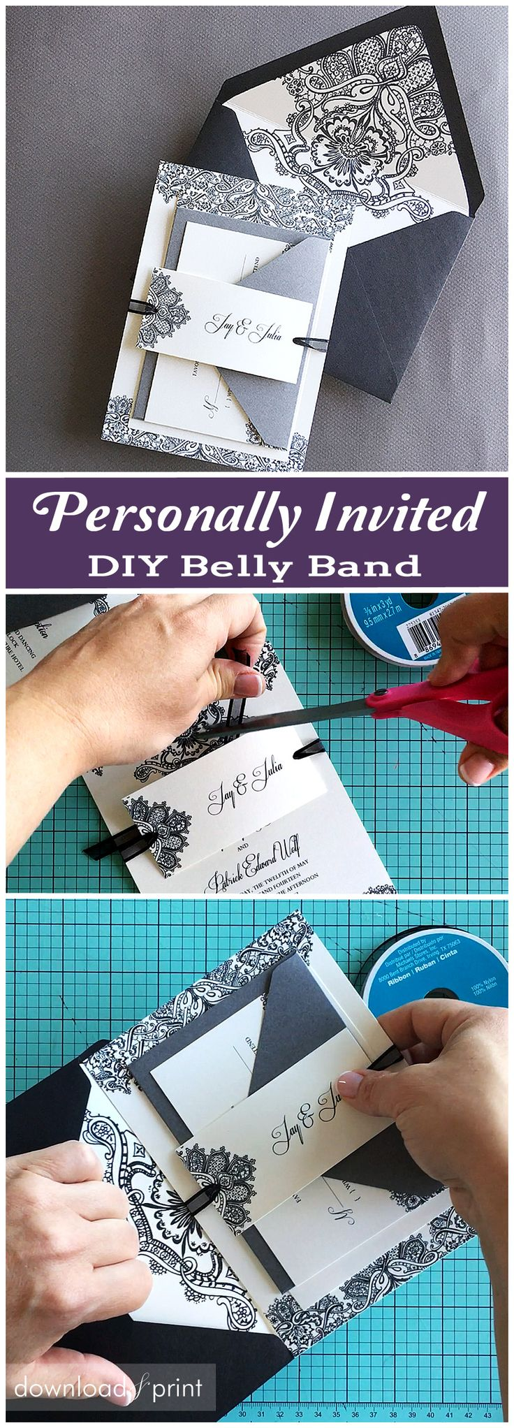 This DIY belly band has your guests' names on, a really nice personal touch. Allows you to be formal on the outer envelope, and more personal on the belly band. Also lets you list exactly who is invited to your wedding, like list kids if they are invited, add a +1 etc.