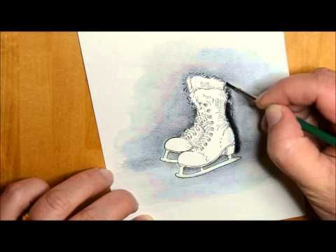 ▶ Ice Skates - YouTube  Karita Vainion shares how she colors her shabby chic #Stampendous Ice Skates in this gorgeous video!!