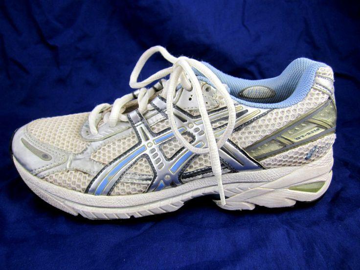 Asics GT 2110 womens tennis running shoes sz 7.5 white athletic white blue