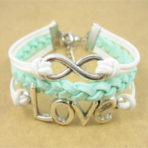 Infinity  love Bracelet - mint green infinity with love symbol bracelet for girls and boys