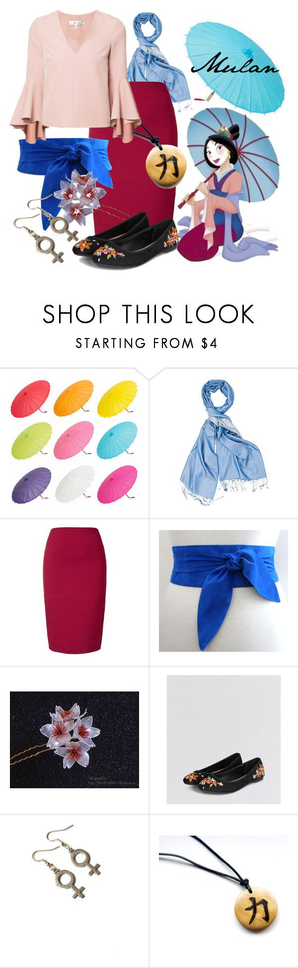 """""""Mulan (A Disney-Inspired Outfit)"""" by one-little-spark ❤ liked on Polyvore featuring Winser London, Milly, disney and disneybound"""