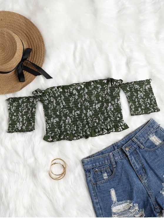 9a8f54d761ba5 Floral Ruffle Shirred Off Shoulder Top - MEDIUM FOREST GREEN L ...