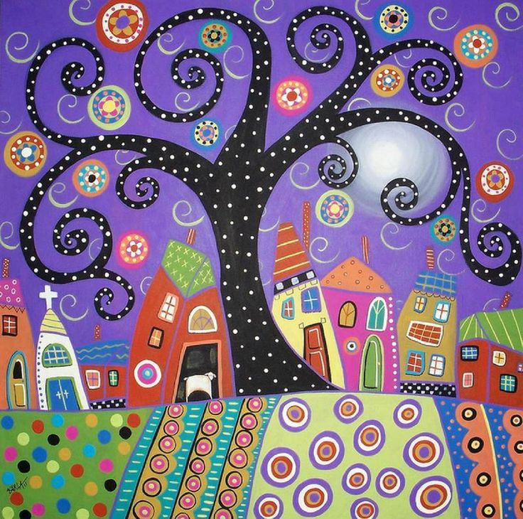 The shape of this tree would be awesome done alone on a canvass with multicoloured dot leaves :)