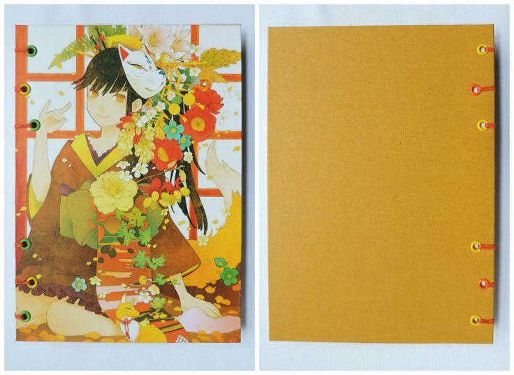 Anime Girl Formato A5. Medidas: 21,5 cm. x 15,5 cm.  80 Hojas lisas, bookcel (color ahuesado). Tela y papel.