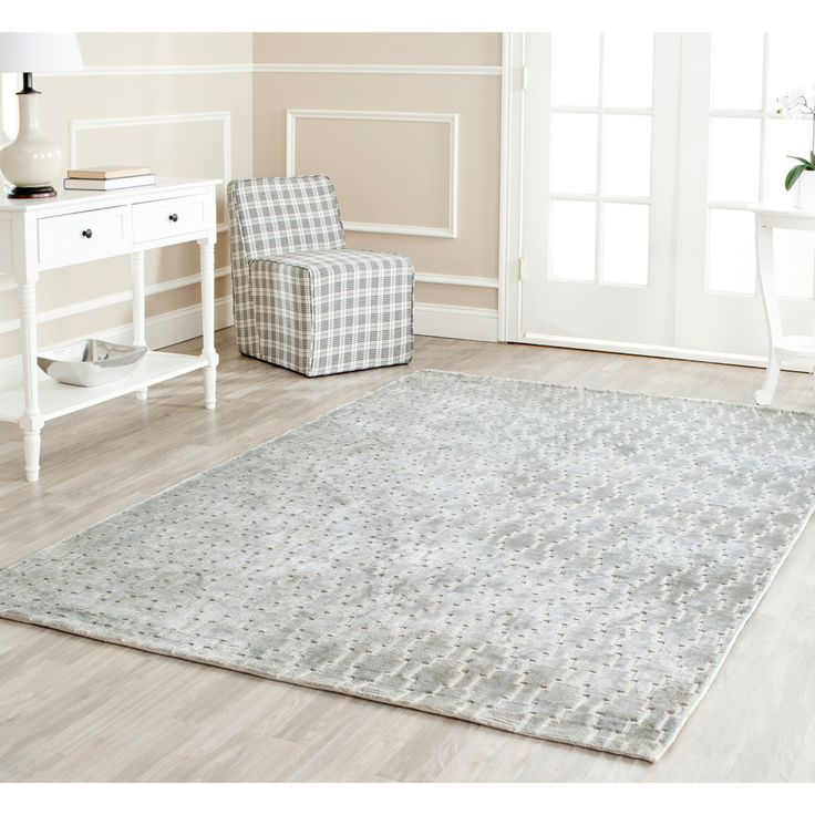 Hand Knotted Mirage Grey Viscose Rug 7 6 X 9