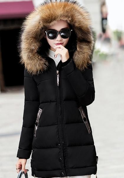 4621cc7938cc Black Pockets Fur Zipper Hooded Long Sleeve Fashion Outerwear