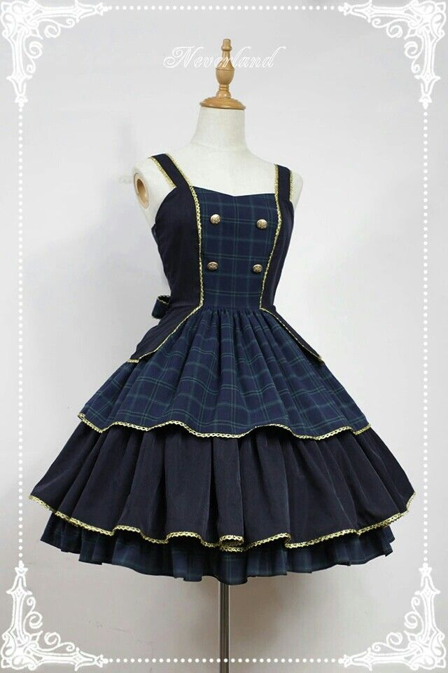 Elegant Golden Trim Straps Layered Skirt Lolita JSK With Bows Decoration on  the Waist - Preppy by Souffle Song
