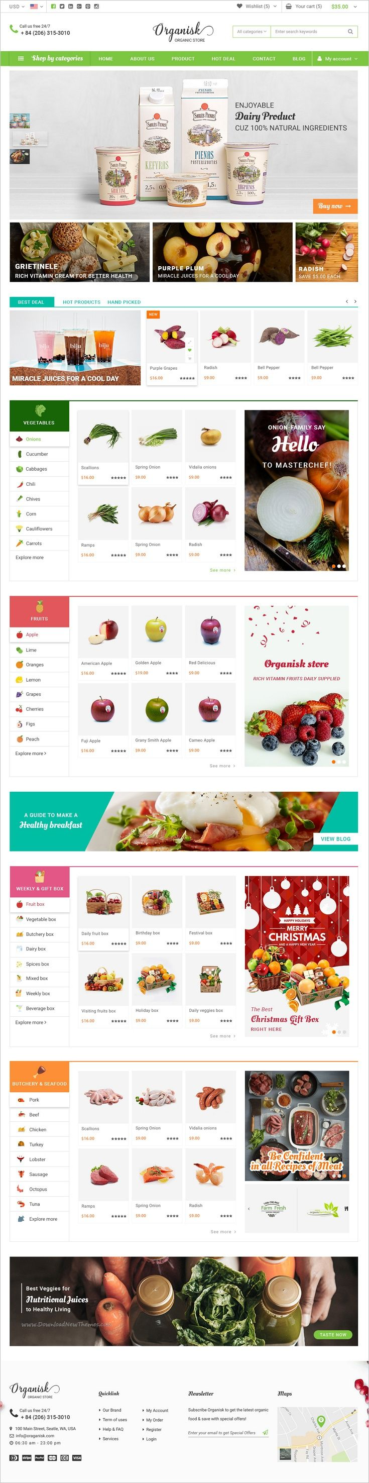 Organic is a fresh and clean design premium #PSD #theme for #webdesign organic shop #eCommerce website with 6 unique homepage versions and 17 fully layered PSD files download now➩ https://themeforest.net/item/organisk-multipurpose-organic-psd-template/18553275?ref=Datasata