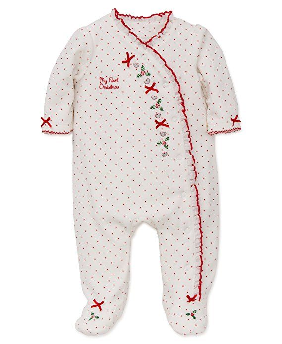 Little Me Girls' First Christmas Velour Footie, White Print Heart, 6 Months