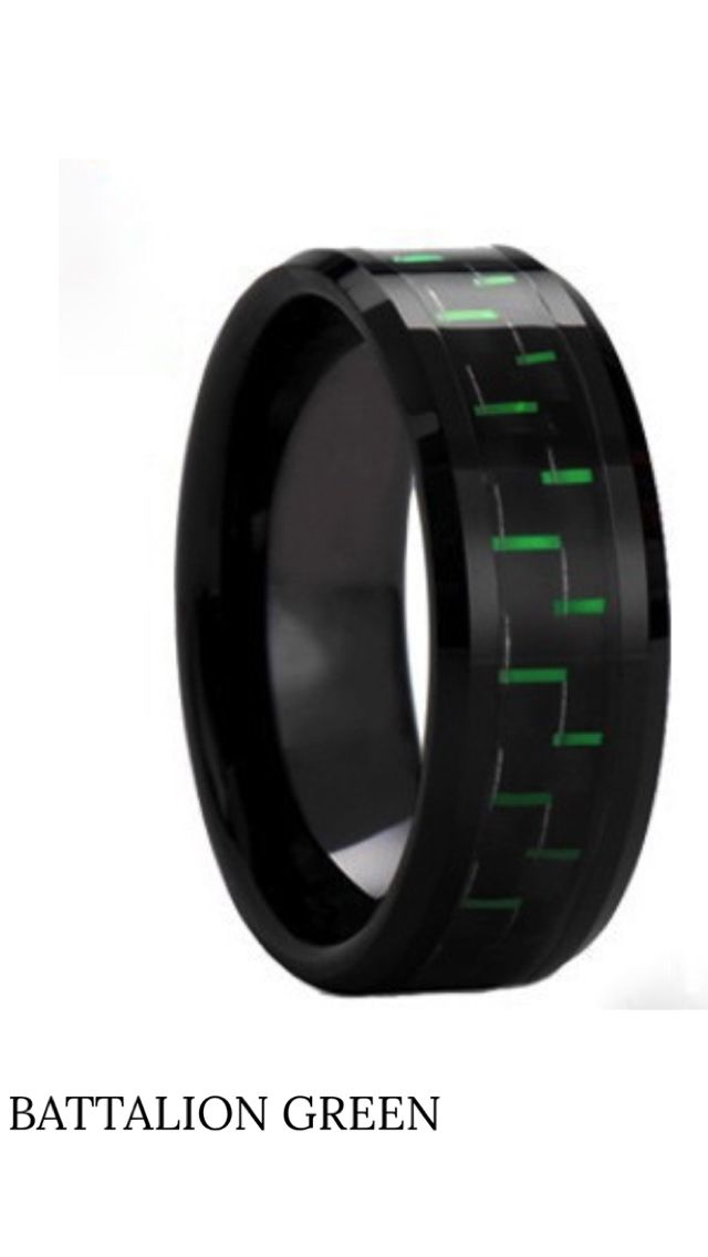This mens black ceramic wedding band is a green team go. The center has black and green carbon fiber inlay wrapping the band. The high polish finish with beveled edges for a comfort fit. This ring has a such a unique style and can be worn just for fashion.