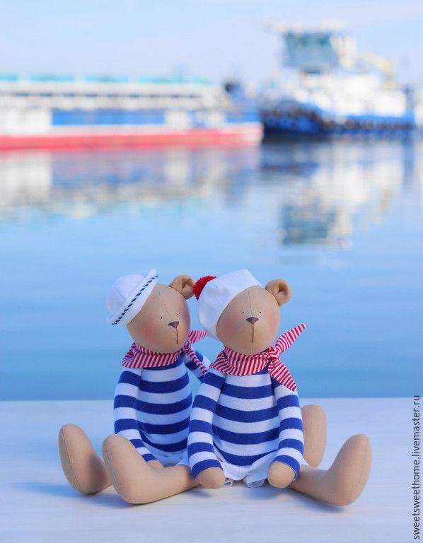 Купить Морские мишки - синий, море, красно-синий, морской стиль, морская тематика, мишка