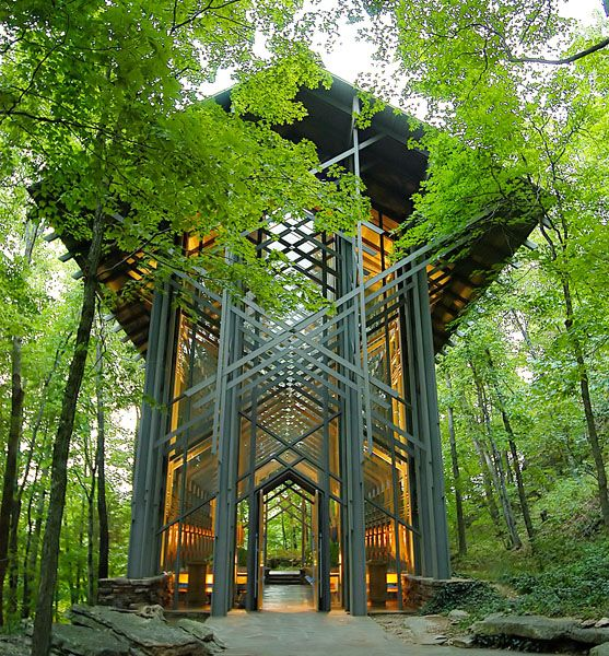 Thorncrown Chapel. Nestled in the Ozark Mountains near Eureka Springs, #Arkansas. Stands 48 feet tall with 425 windows and over 6,000 square feet of glass. Chosen 4th on the #AIA's top designs of the 20th century. Available for daily visitation, weddings, and Sunday services.