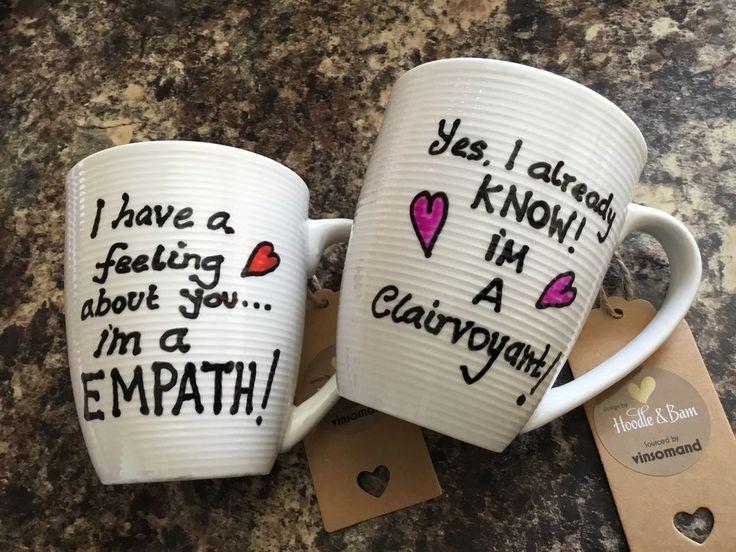 I'm a EMPATH, I'm a Clairvoyant, fun quotes ivory mug, hand painted heat treated