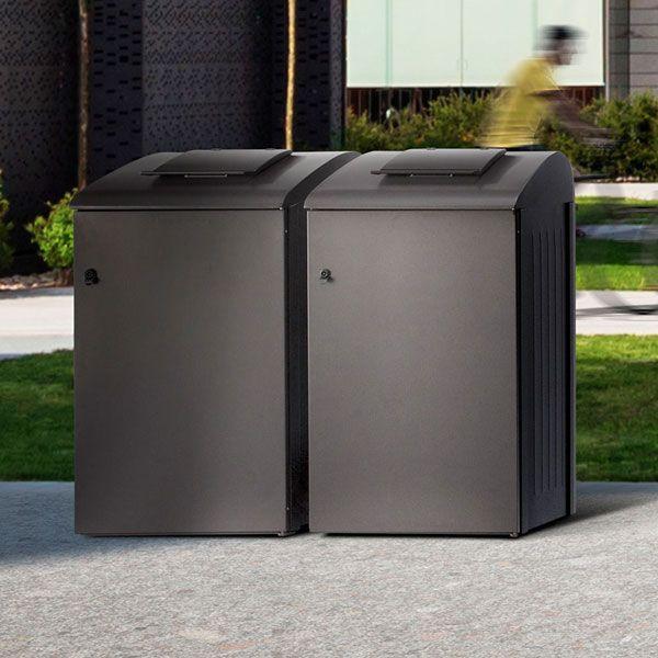 BIOX er en diskret og meget praktisk beholderskjuler og fungerer som et hus for avfallsbeholdere (140, 240 og 360L).
