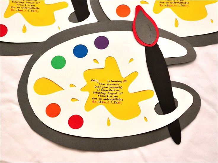 How to make an artist's palette party invitation WITHOUT a Cricut