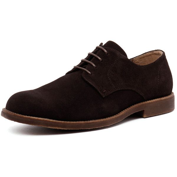 Hush Puppies Theon Chocolate Suede (251.865 COP) ❤ liked on Polyvore featuring men's fashion, men's shoes, mens formal shoes, mens suede shoes, mens suede lace up shoes, hush puppies mens shoes and mens lace up shoes