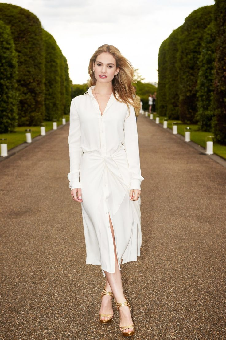 Lily James in a Ralph Lauren Collection dress and sandals.