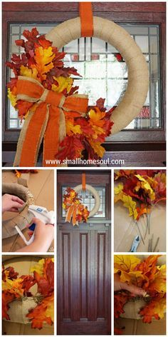 Come see how to make this quick and easy DIY Fall Wreath for a beautiful and welcoming front porch....www.smallhomesoul.com
