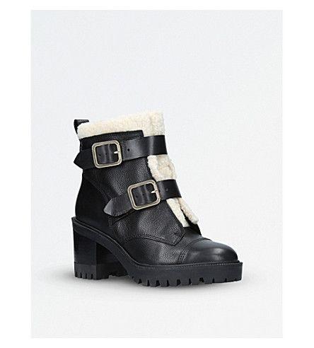 NINE WEST - Ingramm faux-fur trim heeled ankle boots | Selfridges.com