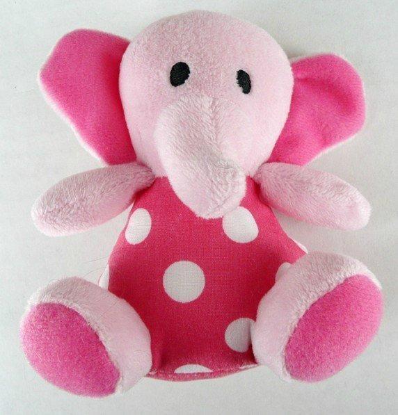 Sassy Toys Plush Pink Polka Dot Elephant Baby Rattle Sensory #Sassy