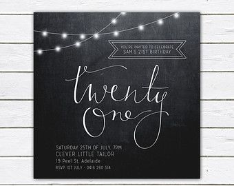 Birthday invitation 21st birthday invite black and by RMcreative
