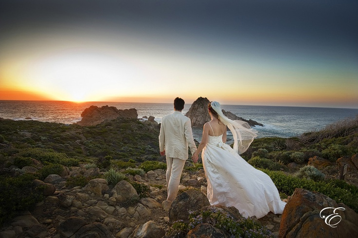 wedding photography at the beach coupled with a beautiful sunset. Photographed near Sugarloaf Rock, Eagle Bay in the south west of Western Australia.  www.envywebsite.com