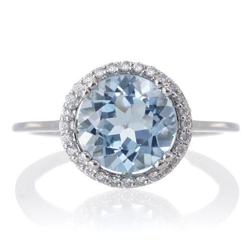 Aquamarine 8mm round halo engagement diamond ring in white gold plain shank, 2.2 tcw,  $735